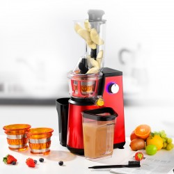 EXTRACTEUR DE FRUITS ET LEGUMES 3 TAMIS MODELE ULTIMATE RED A PRESSION DOUCE DE KITCHENCOOK