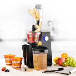 EXTRACTEUR DE FRUITS ET LEGUMES 3 TAMIS MODELE ULTIMATE BLACK A PRESSION DOUCE DE KITCHENCOOK